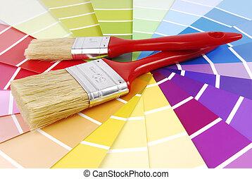 colorare, vernice, guida, spazzola, campionatore