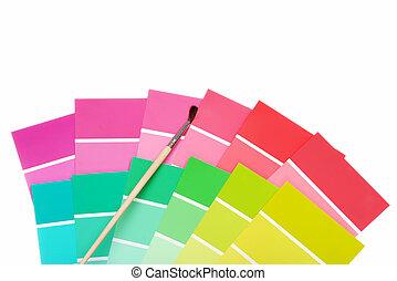 colorare, vernice, patatine fritte, spazzola