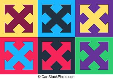 colorare, vettore, frecce, fondo., indicazione, arte, isolato, quattro, icona, pop