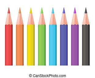 colorare, vettore, pencils., illustration.