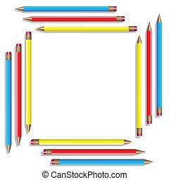 colorare, vettore, pencils., sedici