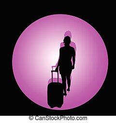 colorare, viaggiare, illustrazione, borsa, vettore, ragazza
