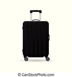 colorare, viaggiare, illustrazione, nero, valigia, ruote