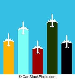 colorare, viaggiare, set, aeroplano, illustrazione