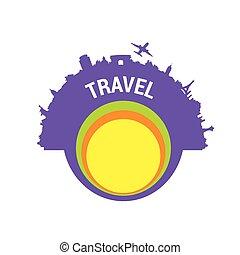 colorare, viaggiare, vettore, silhouette