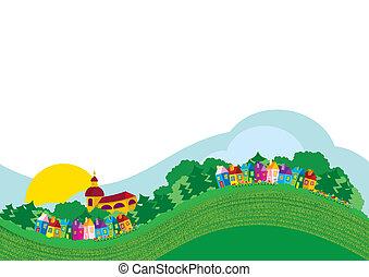 colorare, villaggio, illustrazione, vettore