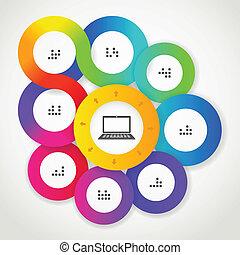 colorare, web, cerchio, interfaccia, sagoma