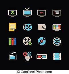 colorare, web, cinema, collezione, icone