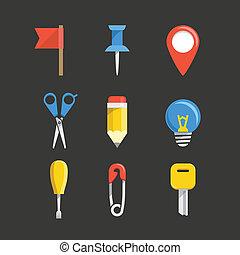 colorare, web, collezione, icone