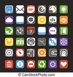 colorare, web, interfaccia, collezione, icone