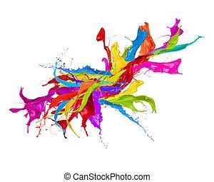 colorato, astratto, isolato, forma, schizzi, fondo, bianco