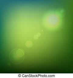 colorato, bagliore, astratto, light., lente, vettore, sfondo verde, morbido