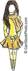 colorato, giovane, giallo, disegnato, ragazza, vestiti