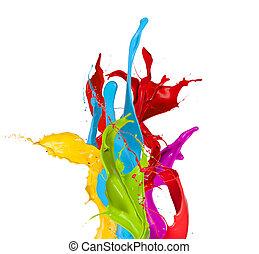 colorato, isolato, vernice, schizzi, fondo, bianco