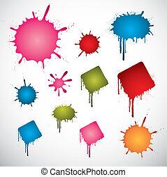 colorato, macchie, inchiostro