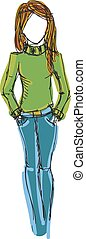 colorato, maglione, jeans, giovane, disegnato, ragazza