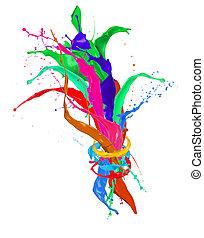 colorato, schizzi, fondo, isolato, vernice, bianco