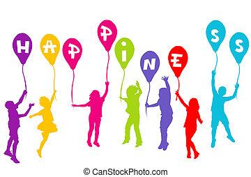 colorato, silhouette, presa a terra, palloni, bambini, felicità