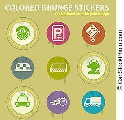 colorato, tassì, icone, servizi, grunge