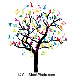 colorato, tree.eps, note, musica, uccelli, concetto, musicale
