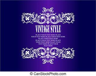 colorato, vendemmia, invito, vettore, frame., matrimonio, floreale, illustration.