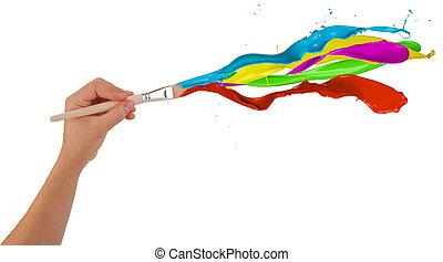 colorato, vernici, gli spruzzi, isolato, fondo, brush., bianco fuori