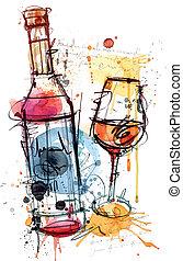 colore acqua, vino rosso