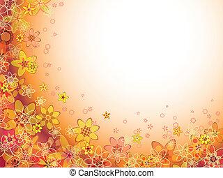 colore arancia, astratto, modello fiore