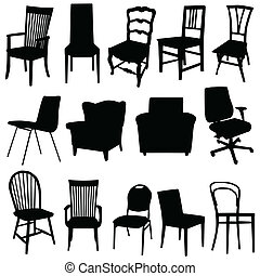 colore arte, illustrazione, vettore, nero, sedia