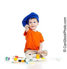 colore artista, vernici, isolato, bambino, bianco, adorabile