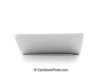 colore, grigio, coperchio, quaderno, laptop, ritaglio, vista, metalic, path., scheggia, tafanario, aperto, fondo., bianco