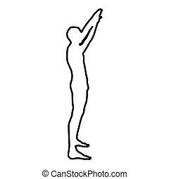 colore mani, braccia, innalzamento, nero, illustrazione, vista, contorno, uomo, lato, icona, elevato, sportivo