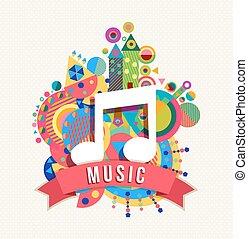 colore nota, etichetta, forme, musica, icona, audio
