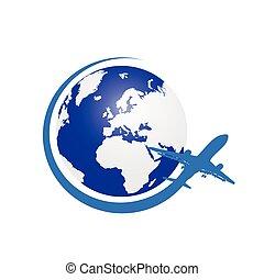colore pianeta, aeroplano, vettore