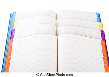 colore, quaderno, aperto