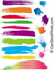 colore, set, linea, spazzole