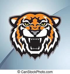 colore tigre, testa, mascotte