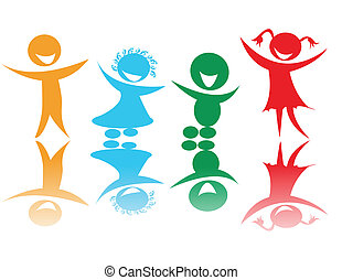 colori, bambini, felice