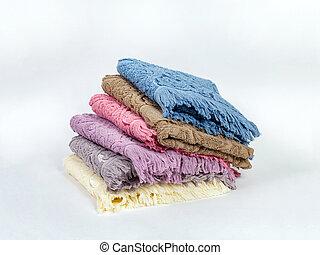colori, differente, fondo, asciugamani, luce, pila, accatastato