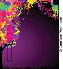 colorito, albero, astratto