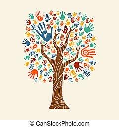 colorito, albero, illustrazione, mano, diverso, comunità