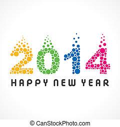 colorito, anno, nuovo, 2014, bolla, felice