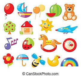 colorito, asilo, immagini, set, bambini