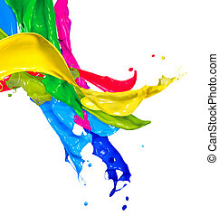 colorito, astratto, isolato, verniciare spruzzata, white., gli spruzzi