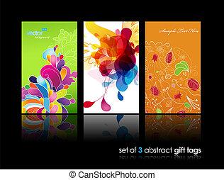 colorito, astratto, schizzo, set, regalo, cartelle, riflessione., fiore