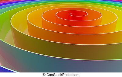 colorito, astratto, spirale, fondo., orizzontale, 3d