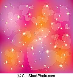 colorito, astratto, st, fondo, valentina, cuori, stelle, luce