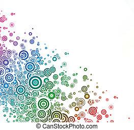 colorito, astratto, vettore, fondo, circle., scheda