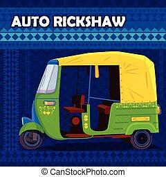 colorito, auto, india, indiano, rickshaw, rappresentare