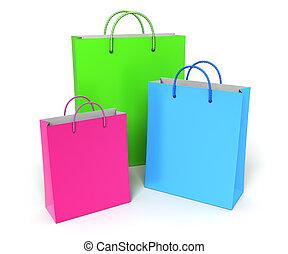 colorito, borse, shopping